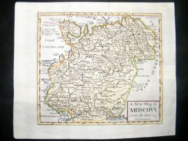 Senex C1740 Antique Hand Col Map. A new map of Moscovy, Russia